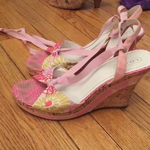 Pink coach wedges